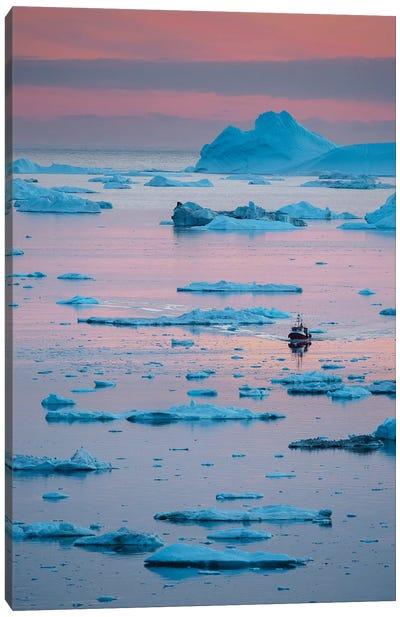 Boat at Ilulissat Icefjord, UNESCO, Ilulissat Kangerlua at Disko Bay. Greenland  Canvas Art Print