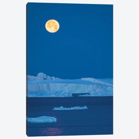Full Moon. Ilulissat Icefjord also called kangia or Ilulissat Kangerlua at Disko Bay.  Canvas Print #MZW65} by Martin Zwick Art Print