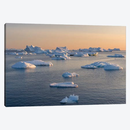 Icebergs in the Disko Bay. Inuit village Oqaatsut located in Greenland Canvas Print #MZW77} by Martin Zwick Canvas Art