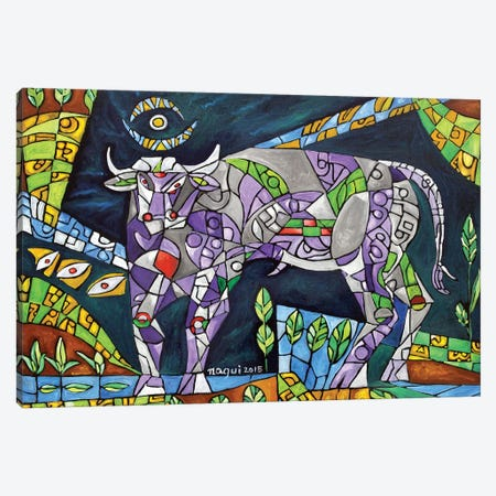 Grazing Bull Canvas Print #NAA12} by Nagui Achamallah Art Print