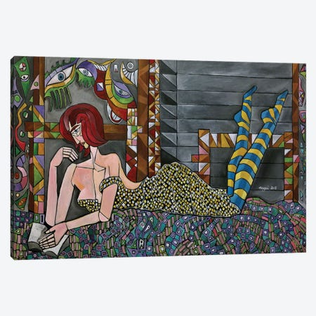 Leaning Woman With A Paperback Canvas Print #NAA16} by Nagui Achamallah Canvas Wall Art