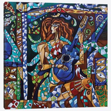 Blue Guitar Canvas Print #NAA2} by Nagui Achamallah Canvas Art