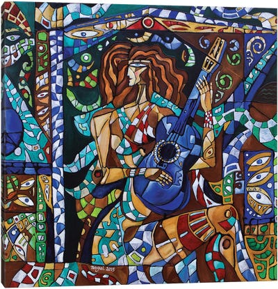 Blue Guitar Canvas Art Print