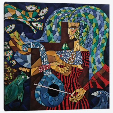 Blue Lute 3-Piece Canvas #NAA3} by Nagui Achamallah Canvas Wall Art