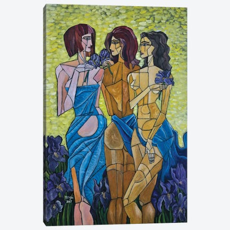 The Three Graces In Vincent's Garden Canvas Print #NAA43} by Nagui Achamallah Canvas Artwork