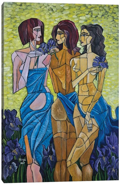 The Three Graces In Vincent's Garden Canvas Art Print