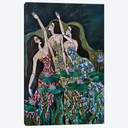 Three Nymphs 3-Piece Canvas #NAA46} by Nagui Achamallah Canvas Print