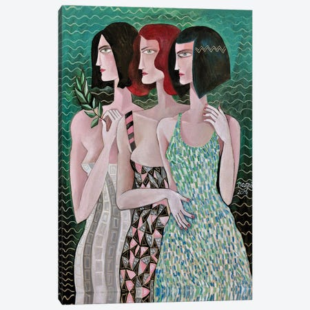 Three Women On A Green Background Canvas Print #NAA47} by Nagui Achamallah Canvas Art Print
