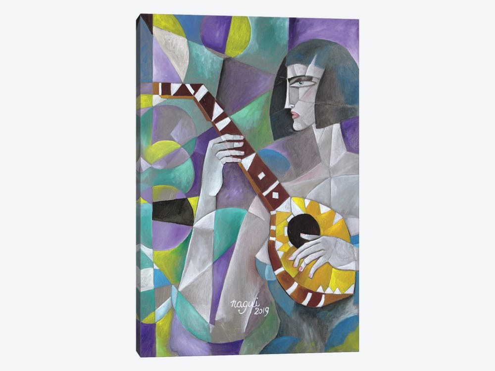 Woman With Lute by Nagui Achamallah 1-piece Art Print