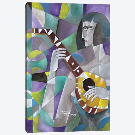 Woman With Lute 3-Piece Canvas #NAA52} by Nagui Achamallah Canvas Print