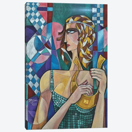 Woman With Lyre 3-Piece Canvas #NAA53} by Nagui Achamallah Art Print