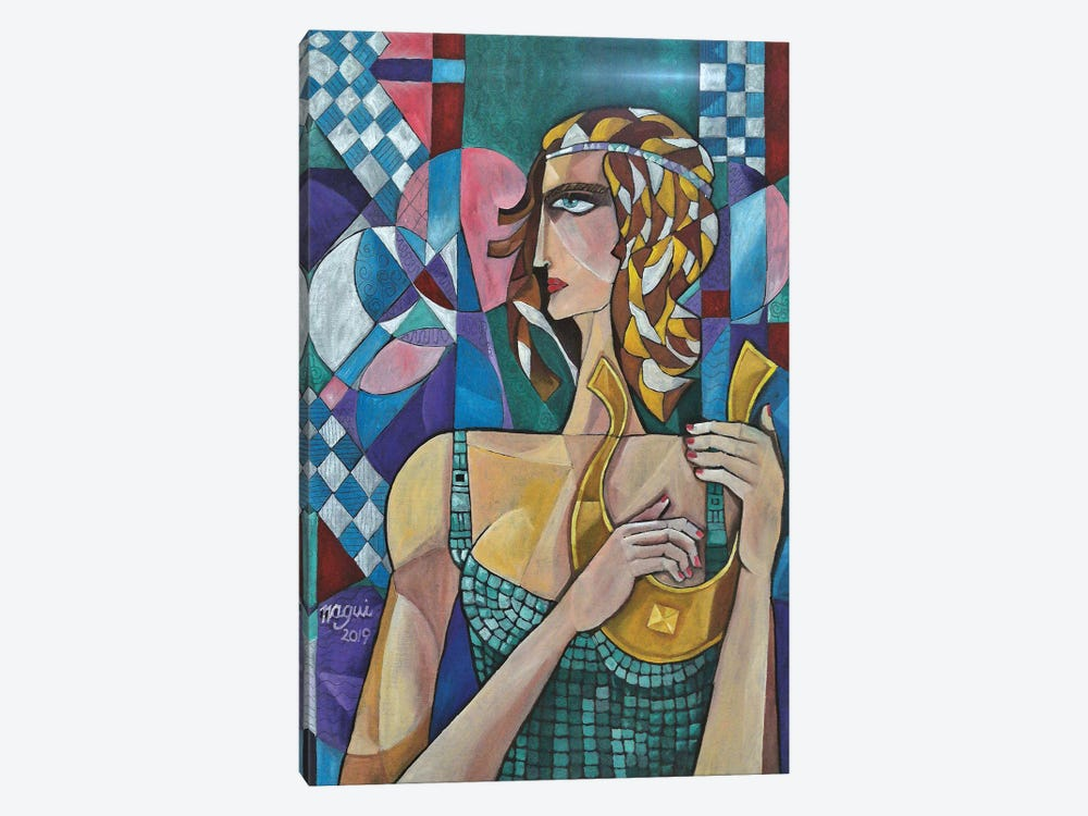 Woman With Lyre by Nagui Achamallah 1-piece Canvas Artwork