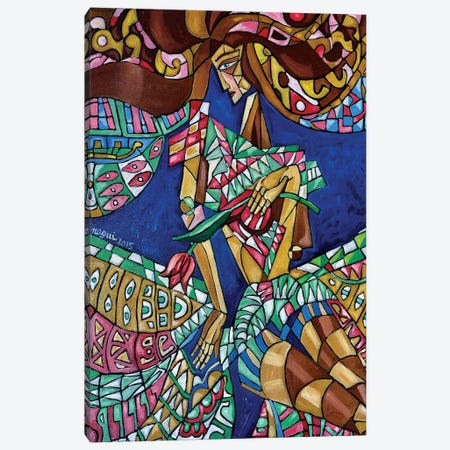 Woman With Tulip Canvas Print #NAA54} by Nagui Achamallah Canvas Artwork
