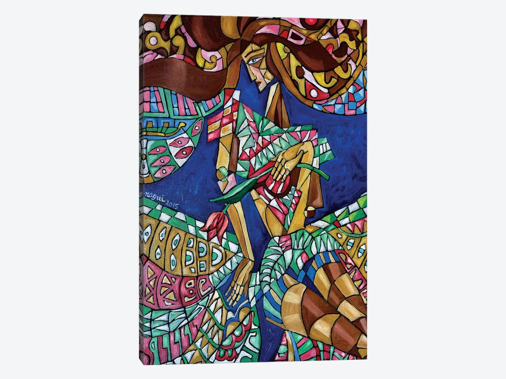 Woman With Tulip by Nagui Achamallah 1-piece Canvas Print
