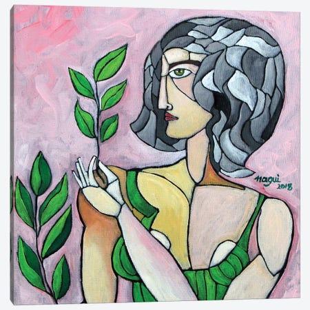 Woman With Grey Hair Canvas Print #NAA63} by Nagui Achamallah Canvas Art