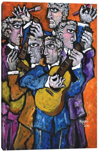 Four Guitarists And A Painter Canvas Art Print