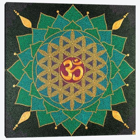 Mandala Flower Of Life Om 3-Piece Canvas #NAH28} by Nadya Al-Haroun Art Print