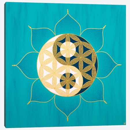 Yinyang Flower Of Life II Canvas Print #NAH39} by Nadya Al-Haroun Canvas Wall Art
