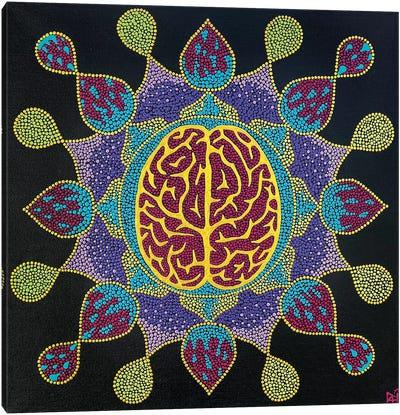 Golden Brain Mandala Canvas Art Print