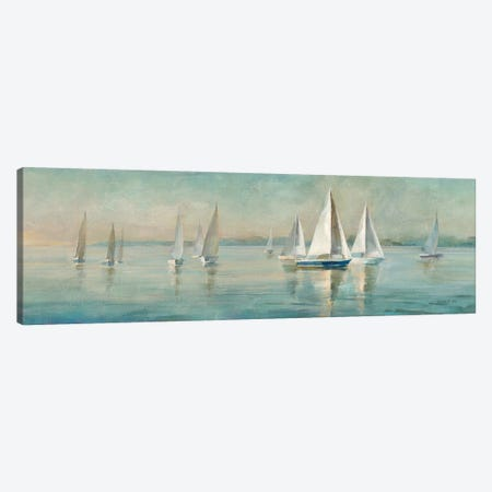 Sailboats at Sunrise Canvas Print #NAI100} by Danhui Nai Canvas Wall Art
