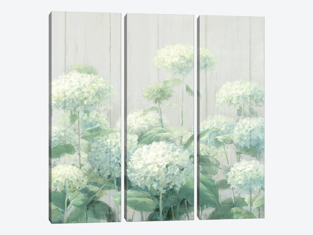 White Hydrangea Garden Sage on Wood Square by Danhui Nai 3-piece Canvas Print