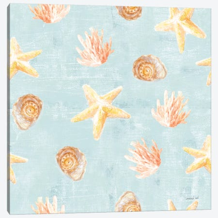 Beach Cottage Floral Pattern IIA Canvas Print #NAI114} by Danhui Nai Canvas Art