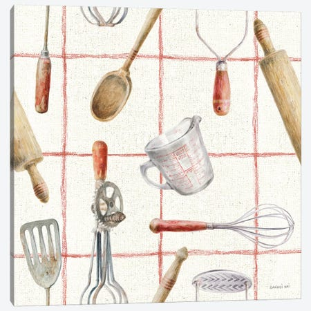 Kitchen Floursack Pattern IVA Canvas Print #NAI127} by Danhui Nai Canvas Print