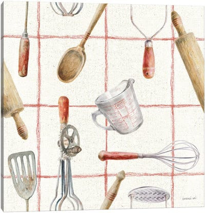 Kitchen Floursack Pattern IVA Canvas Art Print