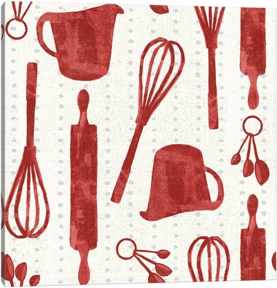 Kitchen Floursack Pattern VIA Canvas Art Print