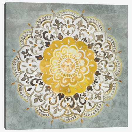 Mandala Delight IV Yellow Gray Canvas Print #NAI132} by Danhui Nai Canvas Art Print