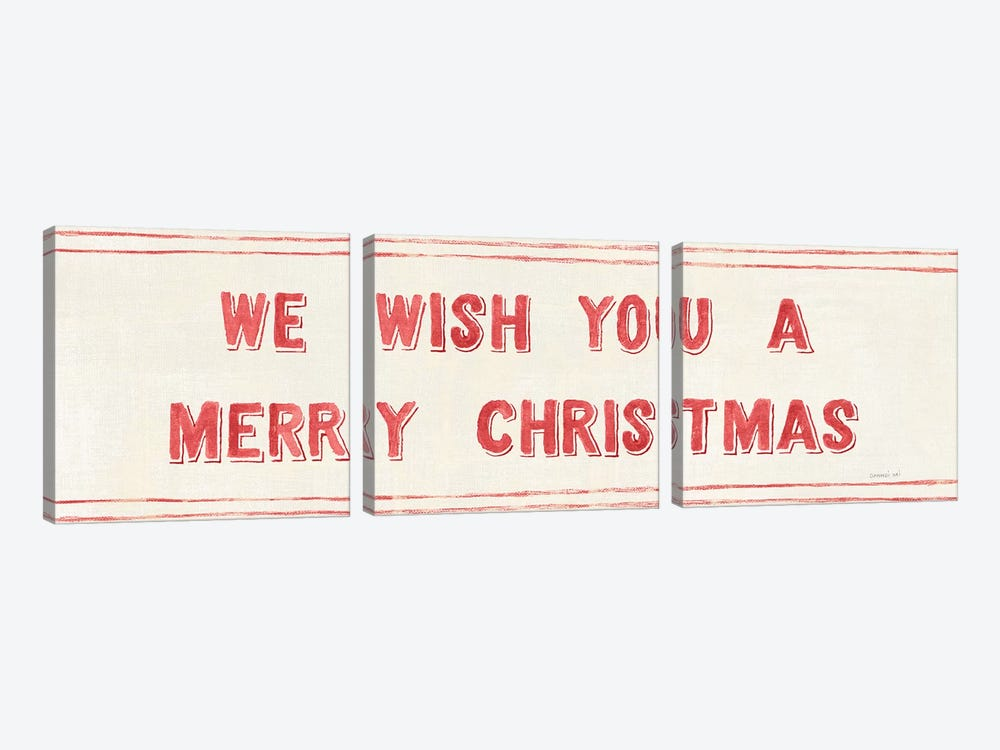 Floursack Holiday Bright Mery Christmas by Danhui Nai 3-piece Canvas Art Print