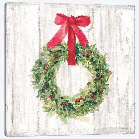 Woodland Holidays Wreath no Bird White Canvas Print #NAI141} by Danhui Nai Canvas Art