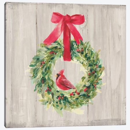 Woodland Holidays Wreath Canvas Print #NAI143} by Danhui Nai Canvas Wall Art