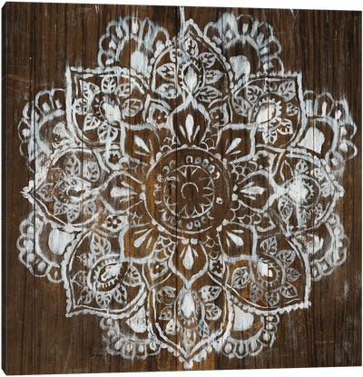 Mandala on Dark Wood Canvas Art Print
