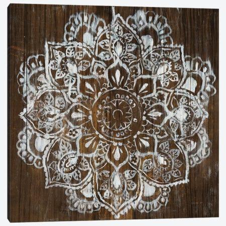 Mandala on Dark Wood Canvas Print #NAI169} by Danhui Nai Canvas Artwork