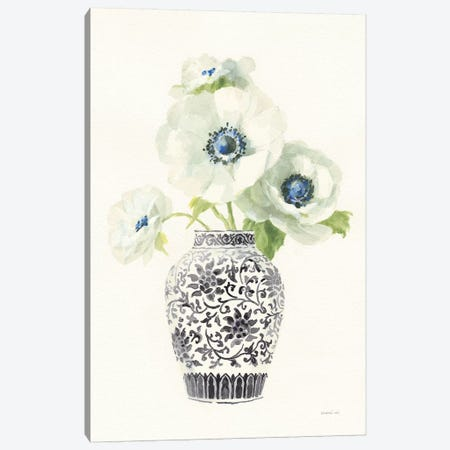 Floral Chinoiserie II Black Crop Canvas Print #NAI175} by Danhui Nai Canvas Wall Art