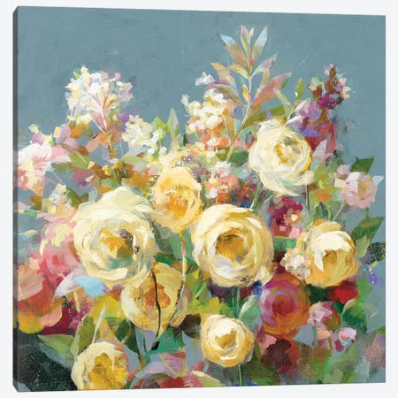 Joy of the Garden Sq II Yellow Canvas Print #NAI192} by Danhui Nai Art Print