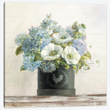 Anemones In Hatbox Canvas Print #NAI1} by Danhui Nai Canvas Artwork