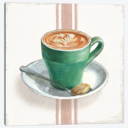 Wake Me Up Coffee II with Stripes Canvas Print #NAI238} by Danhui Nai Canvas Wall Art