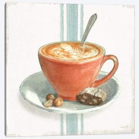 Wake Me Up Coffee III with Stripes Canvas Print #NAI239} by Danhui Nai Canvas Art