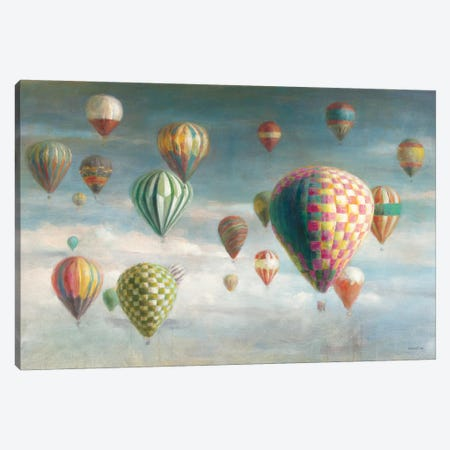 Hot Air Balloons with Pink Crop Canvas Print #NAI23} by Danhui Nai Canvas Artwork