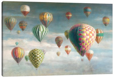Hot Air Balloons with Pink Crop Canvas Art Print