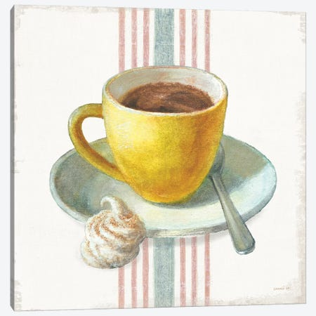 Wake Me Up Coffee IV with Stripes Canvas Print #NAI240} by Danhui Nai Art Print