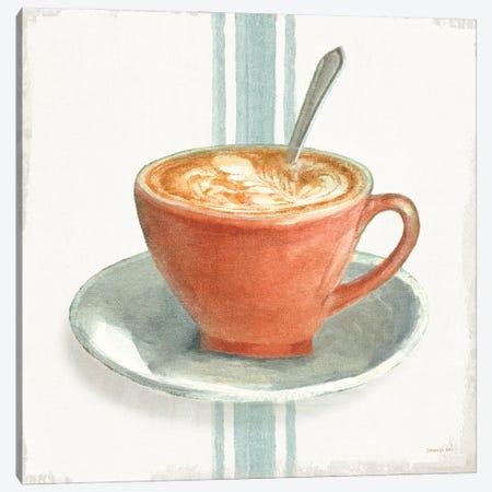 Wake Me Up Coffee III With Stripes No Cookie Canvas Print #NAI244} by Danhui Nai Canvas Art