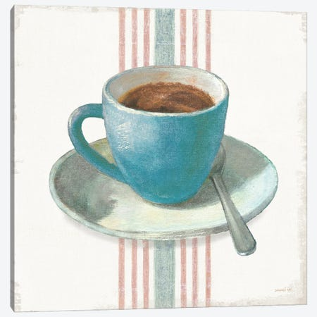 Wake Me Up Coffee IV Blue with Stripes No Cookie Canvas Print #NAI245} by Danhui Nai Canvas Wall Art