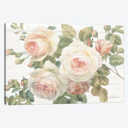 Vintage Roses White on Shiplap Crop Canvas Print #NAI26} by Danhui Nai Art Print