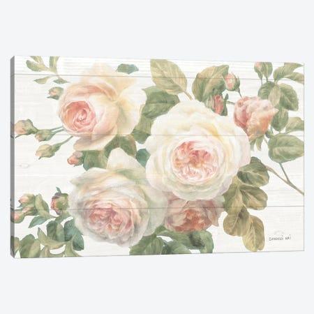 Vintage Roses White on Shiplap Crop Canvas Print #NAI26} by Danhui Nai Art Print