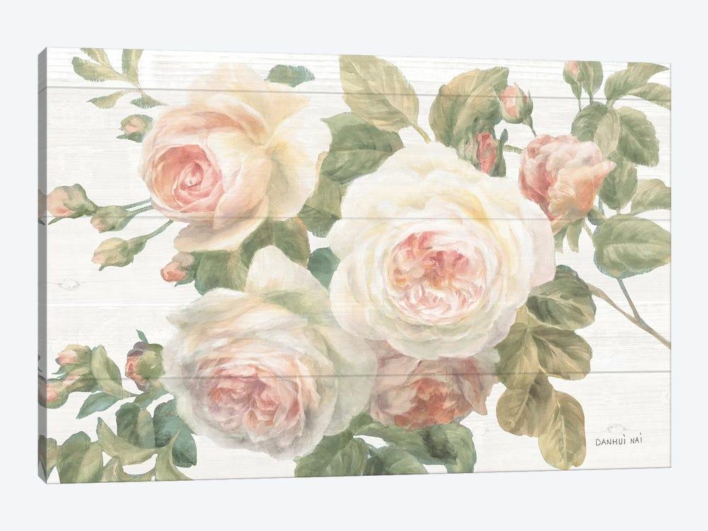 Vintage Roses White on Shiplap Crop by Danhui Nai 1-piece Canvas Art Print