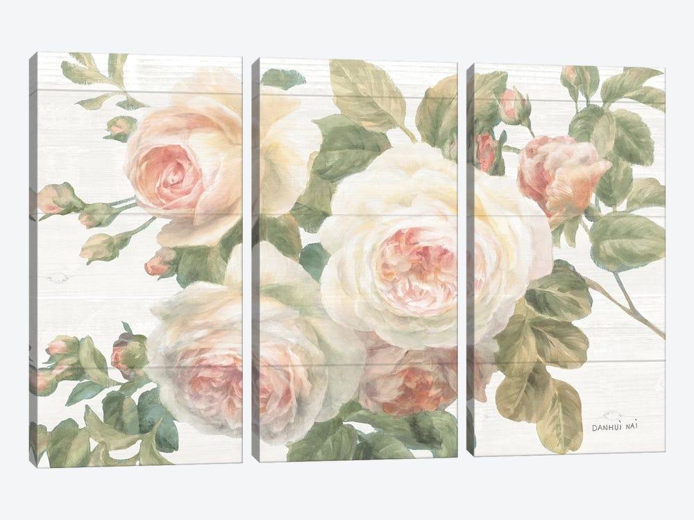 Vintage Roses White on Shiplap Crop by Danhui Nai 3-piece Canvas Art Print