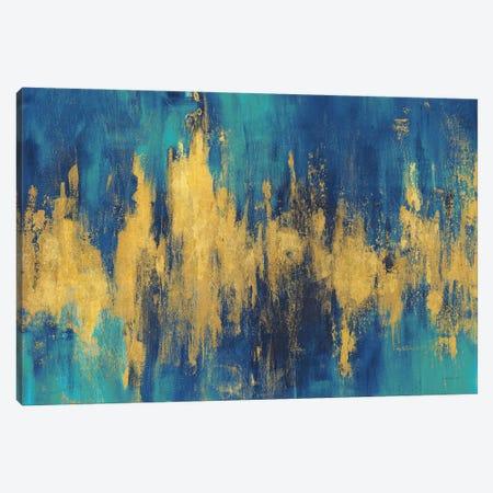 Blue And Gold Abstract Crop Canvas Print #NAI276} by Danhui Nai Canvas Print